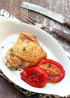 Easy Roasted Chicken and Roma Tomatoes with Thyme | a low carb main dish recipe from ibreatheimhungry.com