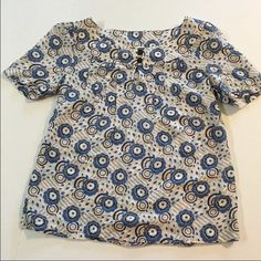 BANANA REPUBLIC silk blend blouse Really cute, banana republic top, blue and white with black buttons. lightweight silk blend- in excellent condition- Banana Republic Tops Blouses