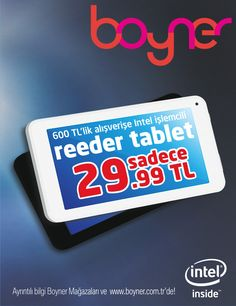 Boyner'de 600 TL'lik alışverişe Intel işlemcili reeder tablet sadece 29.99 TL!  #cepaavm #avm #ankara #turkey #turkiye