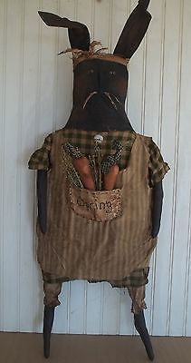 Primitive Grungy Big Spring Rabbit Doll with Carrots & Sweet Annie