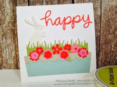 Fun Easter card featuring new A Muse Studio dies. Card design by A Muse Studio Creative Consultant Melissa Roell.
