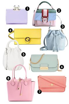 1. Ted Baker Kryssi Small Patent Crystal Frame Purse, $129; tedbaker.com 2. Paula Cademartori Petite Faye Color-Block Satchel, $1,405; shopbazaar.com 3. Gigi New York Jenn Bucket Bag, $350; giginewyork.com 4. Gucci Crossbody Clutch, $694; alducadaosta.com 5. Loewe Small Bounce Bag, $1,950; barneys.com 6. Henri Bendel Delancy Mini Crossbody, $228, henribendel.com 7. Vivienne Westwood Saffiano Leather Cross-Body Bag, $223; selfridges.com 8. Michael Kors Miranda Tote, $1,083; farfetch.com…