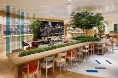 Moving slightly away from your typical brightly coloured soft seating for cafeteria areas of large offices, let's look at some creative office cafe ideas that are a little different. Bar Interior, Office Interior Design, Office Interiors, Interior Ideas, Office Designs, Cafeteria Design, Office Lounge, Office Seating, Bar Seating