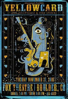 Original concert poster for Yellowcard at the Fox in Boulder, CO. 13