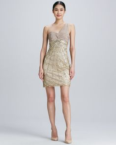 Sue Wong - One-Shoulder Beaded Cocktail Dress