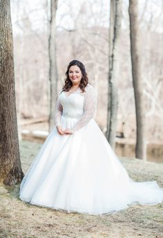 Traditional wedding gown, long sleeve lace, beaded belt // Michele Ashley