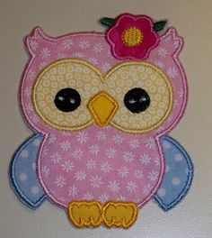 Girl owl applique iron on patch 3 color by UniqueEmbroideries4U