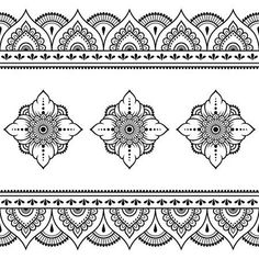 Set of Mehndi flower pattern and seamless border for Henna drawing and tattoo. Decoration in oriental, Indian style. - Tattoos & Piercings - Illustrazione del vettoriali, clipart e vettori stock Set of Mehndi flower pattern and seamless bor - Indian Patterns, Henna Patterns, Flower Patterns, Henna Tattoo Designs, Mehndi Designs, Border Pattern, Pattern Art, Zentangle, Wedding Card Design Indian
