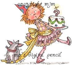 Mo's Digital Pencil - Bella Carrying the Cake, $3.00 (http://www.mosdigitalpencil.com/bella-carrying-the-cake/)