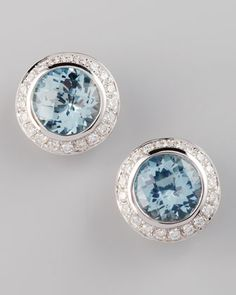Frederic Sage Mini Aquamarine Diamond Earrings by Frederic Sage at Neiman Marcus.