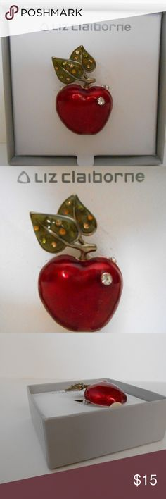 "Liz Claiborne Red Apple Brooch W/ Rhinestones Condition: Items have never been used or removed from the box. the boxes have some residue from the sticker prices at the store. The boxes inside seem to have some rips. see the pictures   Item size approximately 1""x 2""  Perfect gift for teachers Liz Claiborne Jewelry Brooches"