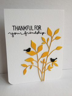 handmade greeting card ... Memory Box dies - use of two to make an easy card. ... yellow and black on white ... foliage with small black birds ... graphic look with bold lines ...