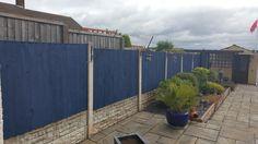 Ronseal One Coat Mountain blue Matt Shed & fence stain Back Garden Design, Small Backyard Design, Blue Shed, Painted Garden Furniture, Blue Fence, Fence Stain, Blue Garden