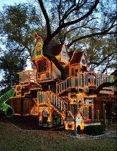Children's playhouse decorated for Christmas