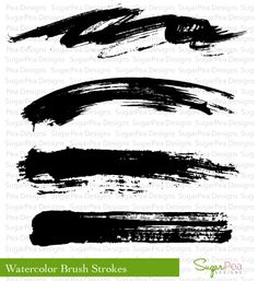 SugarPea Designs - Watercolor Brush Strokes 4x4 stamp set. $11.95
