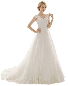 Snowskite Womens Aline V Neck Vintage Lace Wedding Dress 8 White ** Check out this great product.