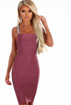f98f03704c Babe About Town Plum Diamante Strap Bandage Mini Dress - 8