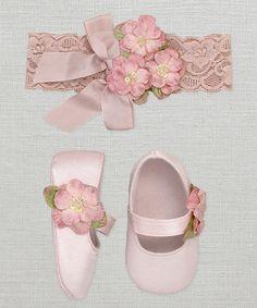 Look at this #zulilyfind! Light Pink Flower Mary Jane & Headband by Truffles Ruffles #zulilyfinds