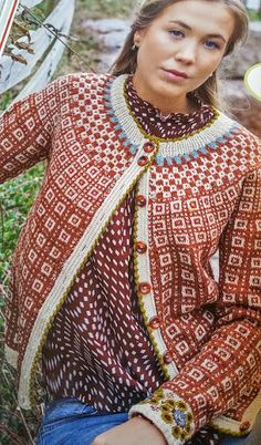 : Kofter-Regjerer i Motebildet Fair Isle Knitting Patterns, Knitting Designs, Knit Patterns, Norwegian Knitting, Cardigan Design, Cardigan Sweaters For Women, Cardigans, How To Purl Knit, Pulls