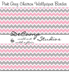 Pink and Grey Gray Chevron wallpaper border wall decals for baby girl nursery or any home decorating ideas #decampstudios
