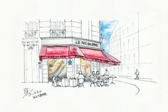 Open-air Cafe in the morning @ Paris, France, 20120512 / Sketch by Youngdong Jang