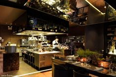 Pretty things and smart places for work. Restaurant kitchen.