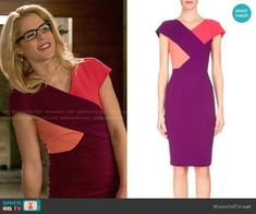 Roland Mouret Tournay Dress worn by Emily Bett Rickards on Arrow ~i love love love this dress, and considering making tunic inspired by it. Date Dresses, Dresses For Work, Pretty Dresses, Emily Bett Rickards, Colorblock Dress, Purple Dress, Costume Design, Sheath Dress, Fashion Dresses