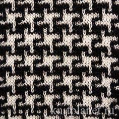 Планета Вязания | Узор Куриная лапка. Схема вязания узора спицами. Ленивые…