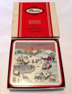 SET of 6 vintage c.1970s Pimpernel White Christmas coasters.