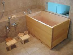 The Japanese Bath. Clean body using a wooden bucket, THEN into the scalding, deep tub.