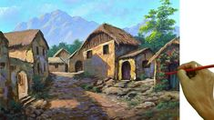 Online Art Classes, Acrylic Painting Lessons, Village Houses, Art Tutorials, Painting Tutorials, Learn To Paint, Landscape Paintings, House Styles, Youtube