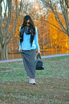 Scarf, chambray, maxi skirt, and flats