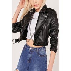 Black Lapel Zipper Up Faux Leather Biker Jacket ($44) ❤ liked on Polyvore featuring outerwear, jackets, black, lapel jacket, vegan motorcycle jacket, zipper jacket, vegan moto jacket and rider jacket