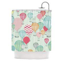"Heidi Jennings ""Hot Air Baloons"" Teal Multicolor Shower Curtain"