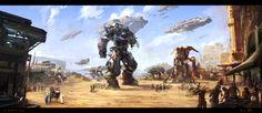 Environmental Art.  Sci-Fi Desert Market