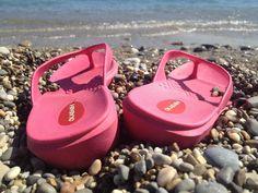 Relaxing at the #beach with #Okabashi Splash flip flops. #summerfun