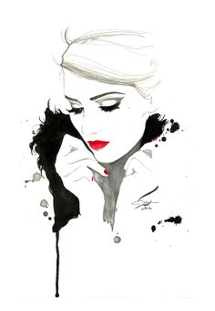 Original watercolor and pen fashion illustration by Jessica Durrant titled, Don't Forget Me.