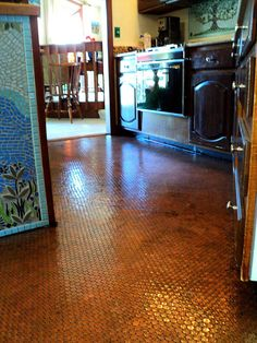Floor made out of PENNIES.