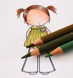 An excellent tutorial for using colored pencils, how to blend, add shadows & highlights, even how to make these cute pleats in her top.