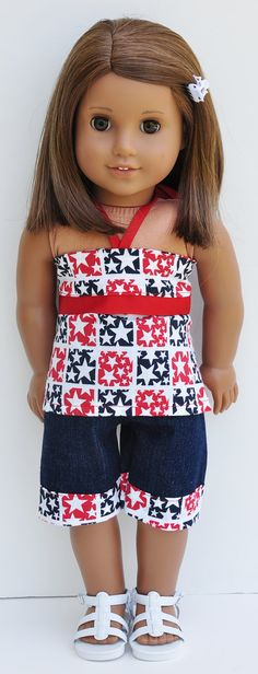 American Girl Clothes  July 4th Red White by LoriLizGirlsandDolls, $24.00