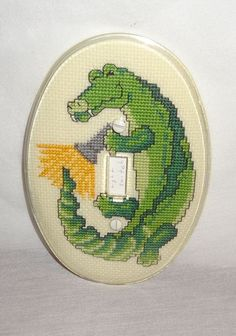 New Alligator Light Toggle Switch Cover Finished Cross Stitch Clear Cover Green