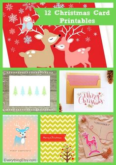 12 Christmas Card Printables {free downloads} - Everything Etsy- link to the last chevron one