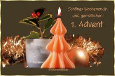 Schönes Wochenende und gemütlichen 1. Advent. Animierte neutrale Grußkarte kotenlos