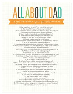 about Dad Questionnaire Free Printable All About Dad Questionnaire, many great questions for all family members.All About Dad Questionnaire, many great questions for all family members. Fathers Day Questionnaire, Getting To Know You, Just For You, All About Mom, Journal Writing Prompts, Daddy Day, Fathers Day Crafts, Fathers Day Poems, Gift Ideas