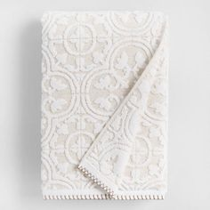 White and Taupe Linen Tess Sculpted Bath Towel - v1