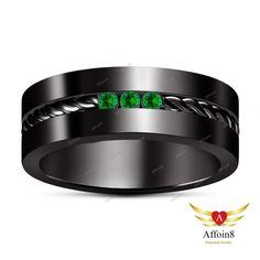 14K Black Gold Plated Round Green Sapphire 925 Silver Men's Wedding Ring Sz 7-14 #Affoin8 #MensWeddingRing