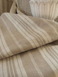 French linen ticking stripe fabric