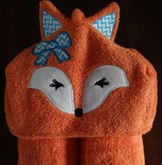 Girly Fox Hooded Towel fits infant to 7 by donnahartlecreations