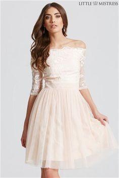 Little Mistress Bardot Mesh Skirt Dress