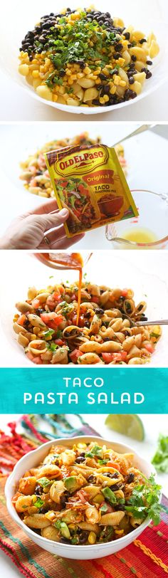 Need an easy dinner idea, or a party dish to share? This Taco Pasta Salad from @GirlWhoAte is perfect! It comes together quickly, and you can control the spice- just add more or less Old El Paso Taco Seasoning™ and your favorite salsa! Stand out at the party with this pasta salad with southwestern flair! Vegan Pasta Salads, Vegetarian Taco Salad, Easy Pasta Salad, Taco Salads, Macaroni Salads, Vegetarian Recipes, Pasta Recipes, Easy Potluck Recipes, Potluck Ideas